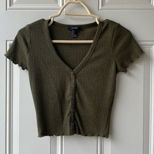 Forever 21 Olive green crop top button up sweater